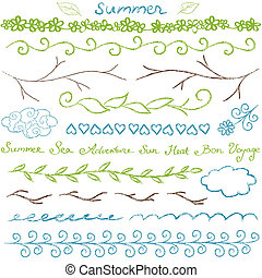 Summer hand drawn border set