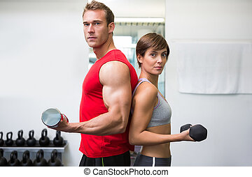 Fit couple lifting dumbbells together looking at camera at...
