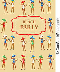 Beach party funny invitation - cartoon vintage style