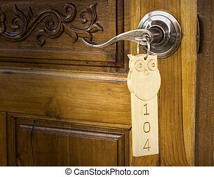 A key in a lock with house
