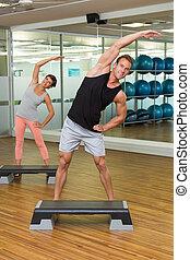 passo, classe, aeróbica, condicão física