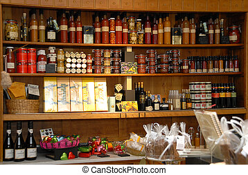 old cupboard with fancy foods