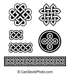 Celtic Irish patterns and braids - Set old traditional...