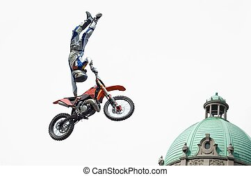 Born to Fly - Motocross rider performing dangerous jumps...
