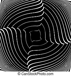 Design monochrome vortex movement illusion background....