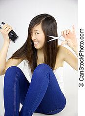 Asian woman happy about going to cut long hair - Cute asian...