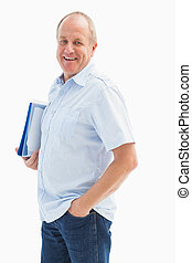 Happy mature student holding folder on white background