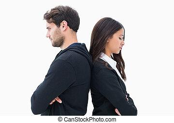 infeliz, pareja, no, Oratoria, cada