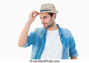 guapo, hipster, Llevando, Un, Sombrero flexible,