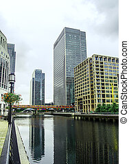 Canary Wharf - Buildings and view in Canary Wharf, East...