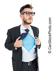 Geeky hipster opening shirt superhero style on white...