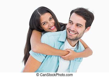 feliz, casual, hombre, Dar, bastante, novia, cerdito,...