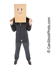 Businessman with box on head on white background