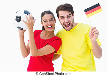 Excited german football fans cheeri