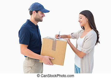 Happy delivery man with customer on white background