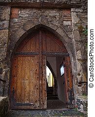 Old open door - Old door, detail open door