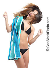 Funny sunbather girl wearing bikini and towel ready for...
