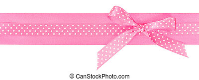 Pink polka dot ribbon with a bow isolated on white...