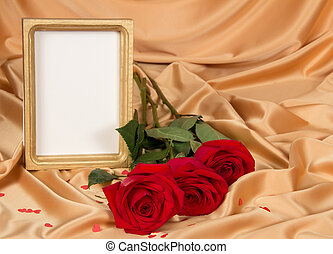 Empty photoframe with roses - Empty photoframe with a...