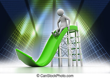 3D man playing on a arrow slide