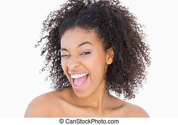bastante, niña, con, Afro, peinado, sonriente, en,...