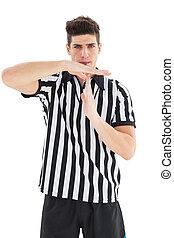 popa, árbitro, mostrando, tempo, saída, sinal