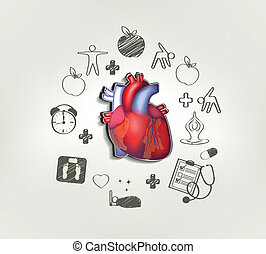 Healthy heart at the middle hand drawn tips around Healthy...