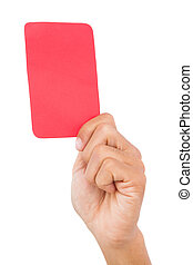 Hand holding up red card on white background