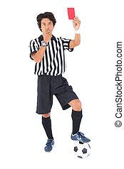 popa, árbitro, mostrando, vermelho, cartão