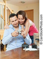 par, desembrulhar, Novo, compacto, digital, câmera