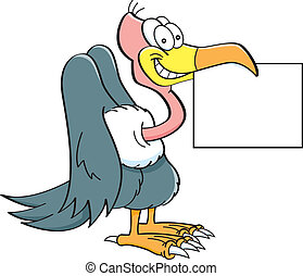 Cartoon buzzard holding a sign. - Cartoon illustration of a...