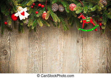 christmas decoration over old wooden background - vintage...