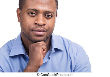 handsome black male looking confident attractive man sitting...