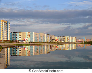 Nadym, Russia - July 28, 2007: The cloudy sky above the city. Na
