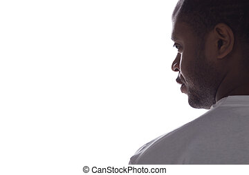 black man wearing white t-shirt man on white background...