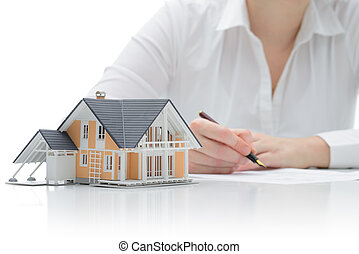Purchase agreement for house - Woman signs purchase...