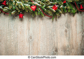 christmas decoration over wooden background - vintage...
