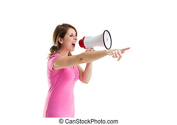 Young woman shouting into bullhorn as she gestures - Young...