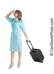Stewardess in blue uniform with her bag over white...