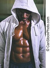 muscular, hombre, capucha, chaqueta