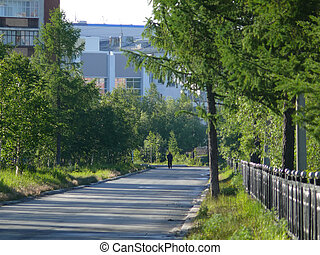 Nadym, Russia - July 9, 2008: city streets, houses Unknown...