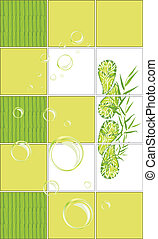 Mosaic tiles with bamboo pattern for a bathroom Vector...