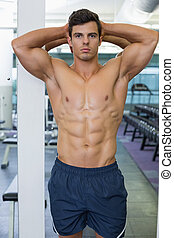 Shirtless muscular man posing in gym - Portrait of a...