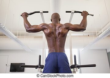Male body builder doing pull ups at the gym - Rear view of a...
