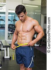 Shirtless muscular man measuring waist
