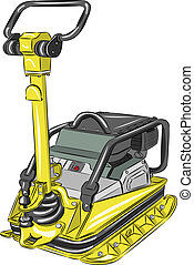 vector compactor - vector hand yellow compactor isolated on...