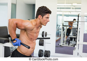 Determined muscular man doing crossfit fitness workout in...