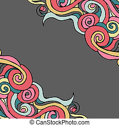 Hand drawn vector frame with curls