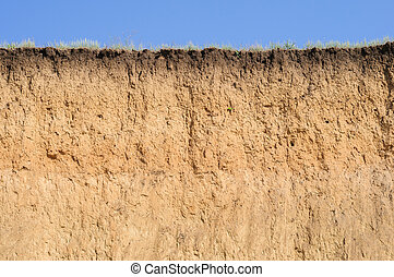 Cut of soil with different layers, grass and sky - Cut of...