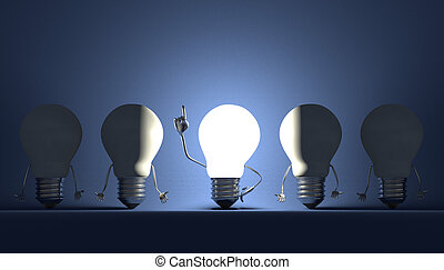 Light bulbs, moment of insight on blue - Glowing light bulb...